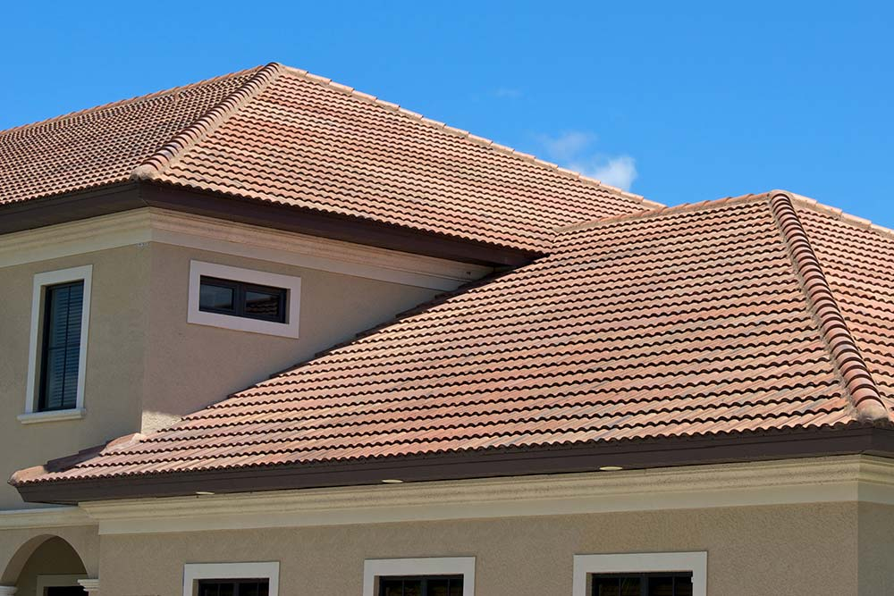 Tile roof of a South Florida house seen while preforming home inspection services